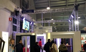 Stand fieristico con audio luci video equipment