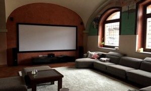 Home cinema room with Epson TW9300 projection and Doldy Atmos